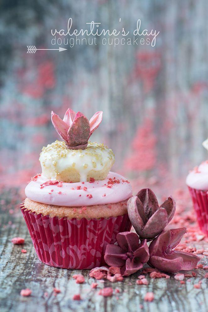 """<p>Stack one favorite sweet on top of another to make this double-decker dessert.</p><p><a href=""""http://www.kailleyskitchen.com/2014/01/15/valentines-day-doughnut-cupcakes/"""" rel=""""nofollow noopener"""" target=""""_blank"""" data-ylk=""""slk:Get the recipe from Kailley's Kitchen »"""" class=""""link rapid-noclick-resp""""><em>Get the recipe from Kailley's Kitchen »</em></a></p>"""