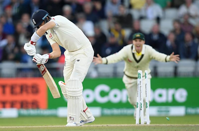 MANCHESTER, ENGLAND - SEPTEMBER 07: Joe Root of England is bowled by Pat Cummins of Australia first ball during Day Four of the 4th Specsavers Ashes Test between England and Australia at Old Trafford on September 07, 2019 in Manchester, England. (Photo by Alex Davidson/Getty Images)
