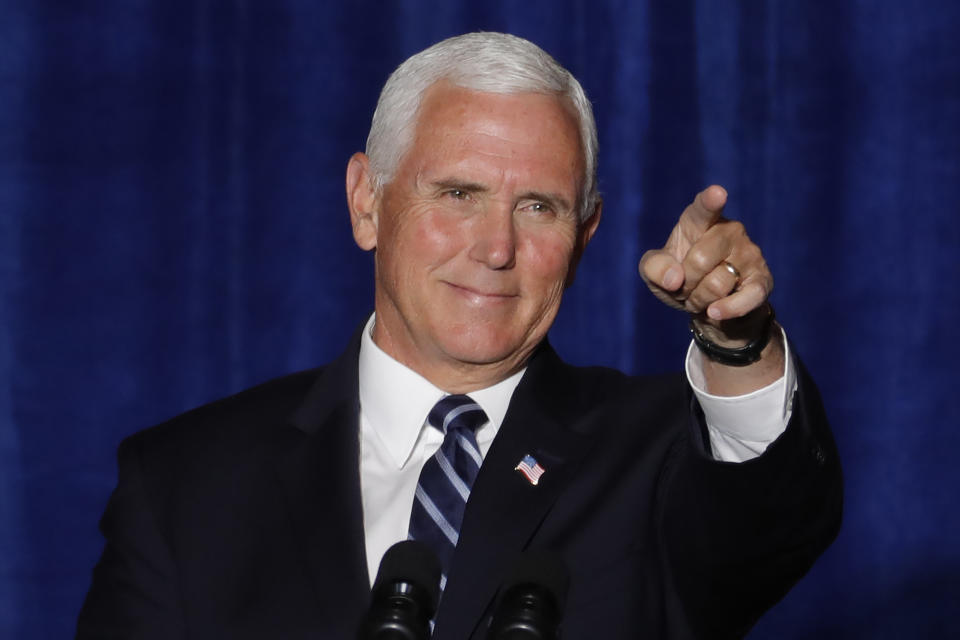 """Vice President Mike Pence at a """"Cops for Trump"""" event on Aug. 11 in Tucson, Ariz. (AP Photo/Matt York)"""