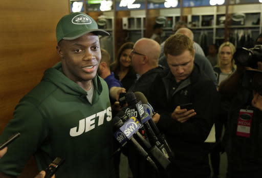 New York Jets quarterback Teddy Bridgewater talks to reporters after a practice at the NFL football team's training camp in Florham Park, N.J., Tuesday, May 22, 2018. (AP Photo/Seth Wenig)