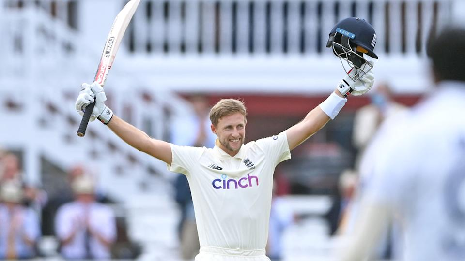 Pictured here, Joe Root celebrates scoring a century for England against India at Lord's.