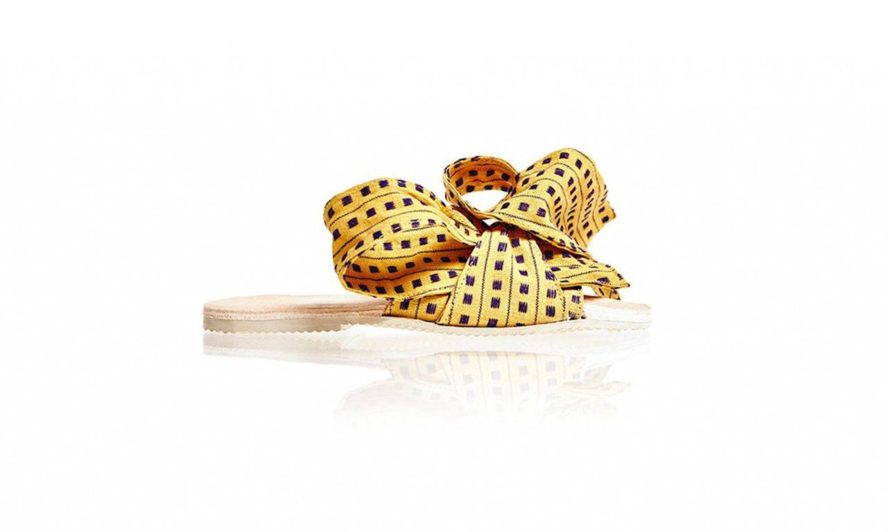 """<p>Woven slides in Whiskey, $515, <a rel=""""nofollow"""" href=""""https://brothervellies.com/products/woven-slide-in-whiskey"""">brothervellies.com</a> </p>"""
