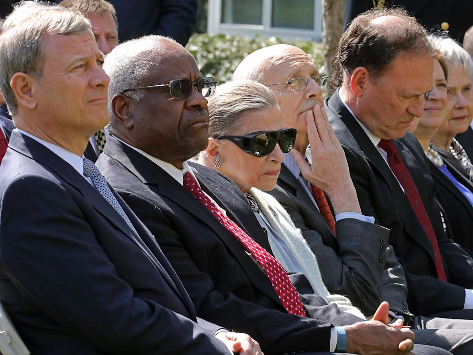 ruth bader ginsburg supreme court justices WASHINGTON, DC - APRIL 10: (L-R) U.S. Supreme Court Chief Justice John Roberts and associate justices Clarence Thomas, Ruth Bader Ginsburg, Stephen Breyer, Samuel Alito and Elena Kagan and Maureen Scalia, widow of the late Justice Antonin Scalia, attend Judge Neil Gorsuch's judicial oath ceremony in the Rose Garden at the White House April 10, 2017 in Washington, DC. Earlier in the day Gorsuch, 49, was sworn in as the 113th Associate Justice in a private ceremony at the Supreme Court. (Photo by Chip Somodevilla/Getty Images)