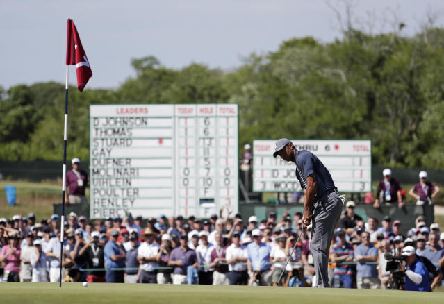 "<a class=""link rapid-noclick-resp"" href=""/pga/players/147/"" data-ylk=""slk:Tiger Woods"">Tiger Woods</a>' name was not among those on the leaderboard of the U.S. Open. (AP)"