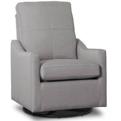 """<p><strong>Delta Children</strong></p><p>ashleyfurniture.com</p><p><strong>$283.99</strong></p><p><a href=""""https://go.redirectingat.com?id=74968X1596630&url=https%3A%2F%2Fwww.ashleyfurniture.com%2Fp%2Fdelta_children_kenwood_slim_nursery_glider_swivel_rocker_chair%2FB600000359.html&sref=https%3A%2F%2Fwww.goodhousekeeping.com%2Fchildrens-products%2Fg36815305%2Fbest-gliders%2F"""" rel=""""nofollow noopener"""" target=""""_blank"""" data-ylk=""""slk:Shop Now"""" class=""""link rapid-noclick-resp"""">Shop Now</a></p><p><strong>Great for smaller rooms</strong>, this compact glider is a bargain (under $300!) while still getting the job done. While most reviewers said it was comfortable, some complained that this chair didn't support their heads as much as they'd like while sitting, and the cushions seemed to lose their shape after several months of use.</p>"""