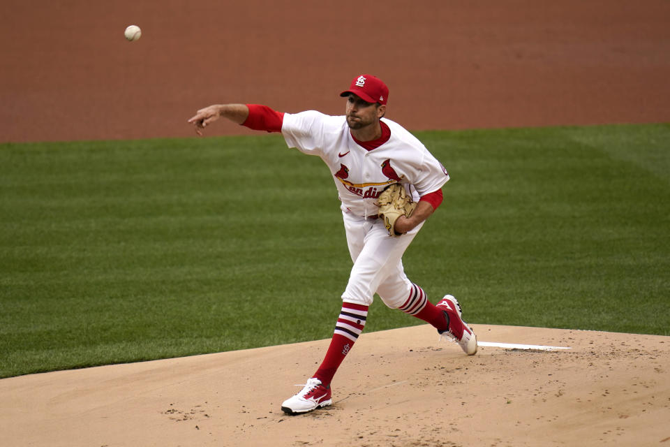 St. Louis Cardinals starting pitcher Adam Wainwright throws during the first inning of a baseball game against the Milwaukee Brewers Thursday, April 8, 2021, in St. Louis. (AP Photo/Jeff Roberson)