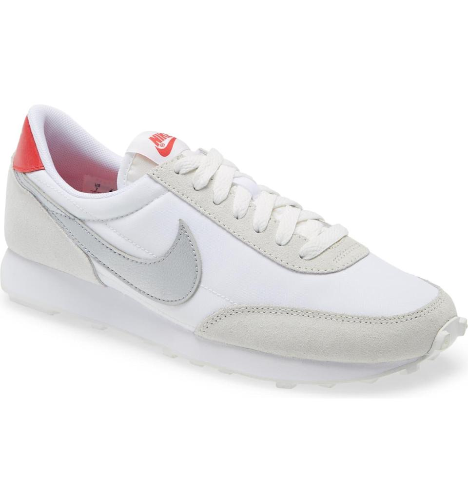 """<h3>Nike Daybreak Sneaker</h3><br>Summer wouldn't be complete without a white sneaker, and luckily Nordstrom has them in droves. Our pick — and the favorite of close to 150 reviews — is this throwback-style Nike kick, updated from the brand's 1979 Tailwind running shoe. """"These red hot numbers will make any outfit instantly cool¯ advised reviewer Minga333. """"Slip the kicks on for a super laidback retro vibing cool mom look. Puttin' all the youngins to shame wearing these. Get a pair quick! I already tried buying the tan with the black check but they sold out too fast!""""<br><br><em>Shop <strong><a href=""""https://www.nordstrom.com/brands/nike--535/women/shoes?"""" rel=""""nofollow noopener"""" target=""""_blank"""" data-ylk=""""slk:Nike"""" class=""""link rapid-noclick-resp"""">Nike</a></strong> footwear</em><br><br><strong>Nike</strong> Daybreak Sneaker, $, available at <a href=""""https://go.skimresources.com/?id=30283X879131&url=https%3A%2F%2Fwww.nordstrom.com%2Fs%2Fnike-daybreak-sneaker-women%2F5282135%3F%26color%3Dsummit%2520white%252F%2520metallic%2520silver"""" rel=""""nofollow noopener"""" target=""""_blank"""" data-ylk=""""slk:Nordstrom"""" class=""""link rapid-noclick-resp"""">Nordstrom</a>"""