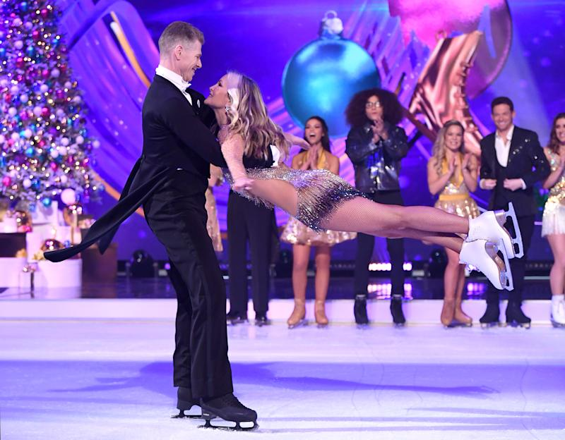 BOVINGDON, ENGLAND - DECEMBER 09: Hamish Gaman and Caprice Bourret during the Dancing On Ice 2019 photocall at the Dancing On Ice Studio, ITV Studios, Old Bovingdon Airfield on December 09, 2019 in Bovingdon, England. (Photo by Karwai Tang/WireImage)