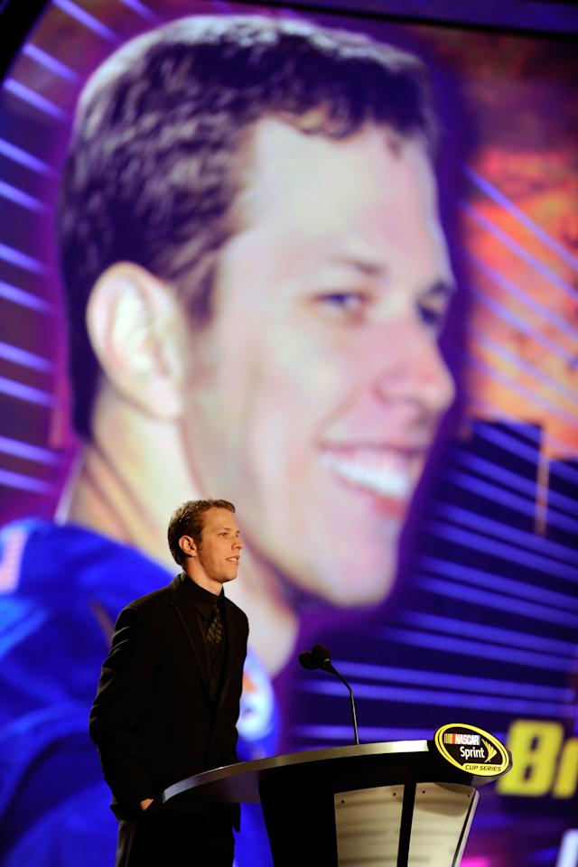 LAS VEGAS, NV - DECEMBER 02:  Driver Brad Keselowski speaks during the NASCAR Sprint Cup Series Champion's Week Awards Ceremony at Wynn Las Vegas on December 2, 2011 in Las Vegas, Nevada.  (Photo by Ethan Miller/Getty Images)
