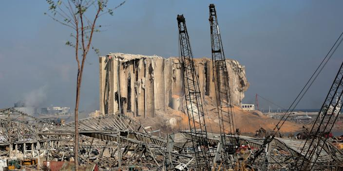 A view of Beirut ports silo on August 5, 2020 in the aftermath of a massive explosion in the Lebanese capital.