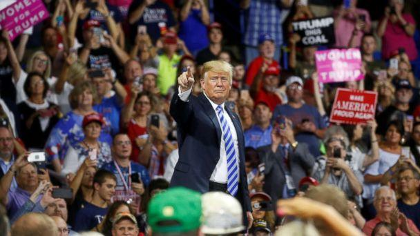 PHOTO: Donald Trump acknowledges supporters during a Make America Great Again rally at the Civic Center in Charleston, West Virginia, Aug. 21, 2018. (Leah Millis/Reuters)