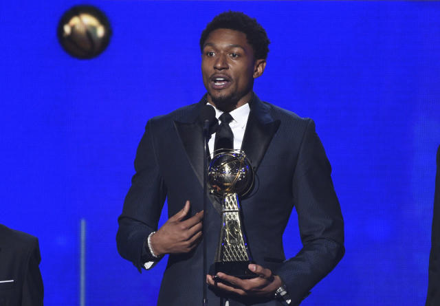 NBA player Bradley Beal, of the Washington Wizards, accepts the NBA cares community assist award at the NBA Awards on Monday, June 24, 2019, at the Barker Hangar in Santa Monica, Calif. (Photo by Richard Shotwell/Invision/AP)