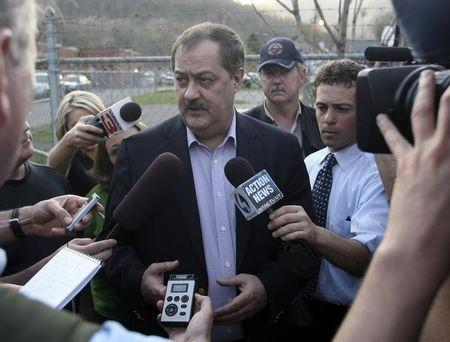 CEO of Massie Energy Blankenship  talks with reporters near the Upper Big Branch Mine in Montcoal