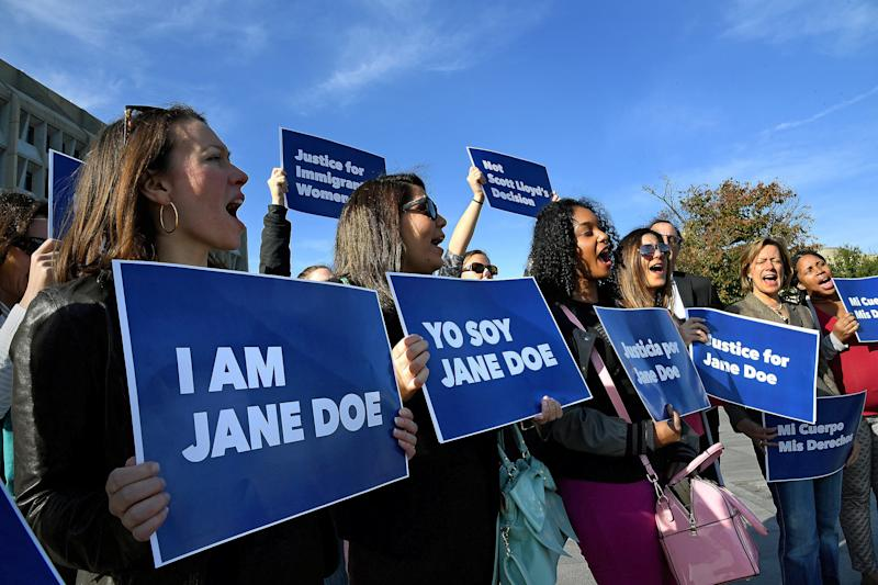 The Planned Parenthood Federation of America and coalition partners protest last week for Jane Doe's right to get an abortion. (Michael S. Williamson/The Washington Post via Getty Images)