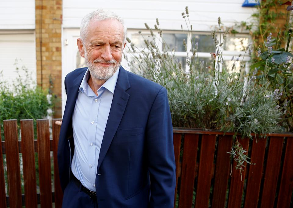 Britain's opposition Labour Party leader Jeremy Corbyn leaves his home in London, Britain August 27, 2019.  REUTERS/Henry Nicholls