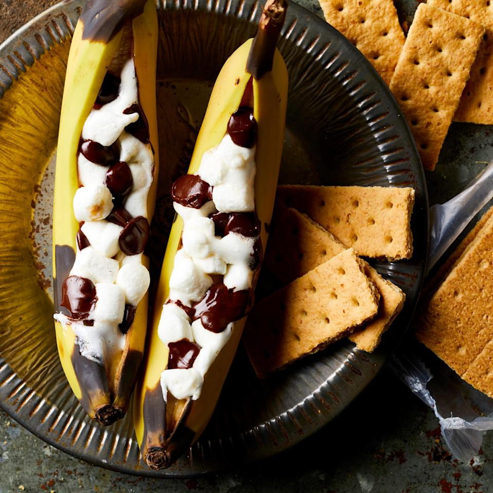<p>You'll never go camping again without this fun twist on classic s'mores made inside a split banana. Plus, it's easy to make gluten-free or to cut some carbs--just ditch the graham crackers and scoop this gooey treat up with a spoon instead.</p>