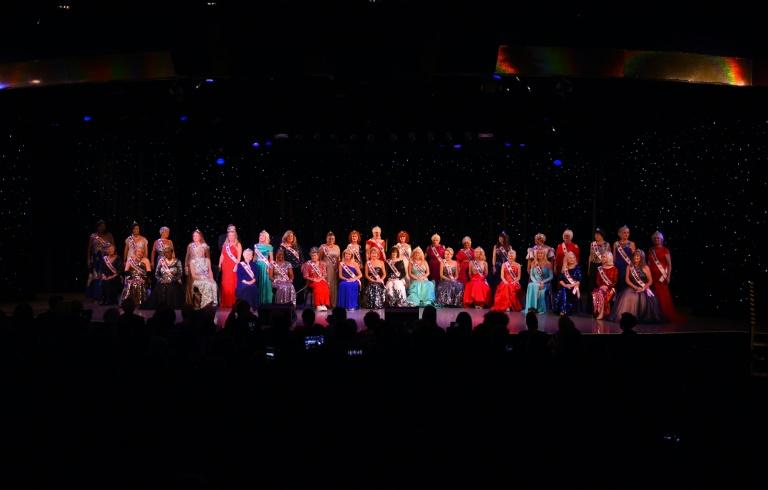 Contestants are introuduced on stage during the finals of the 38th Annual National Ms. Senior America 2017 Pageant at the Resorts Casino Hotel in Atlantic City, New Jersey, on October 19, 2017