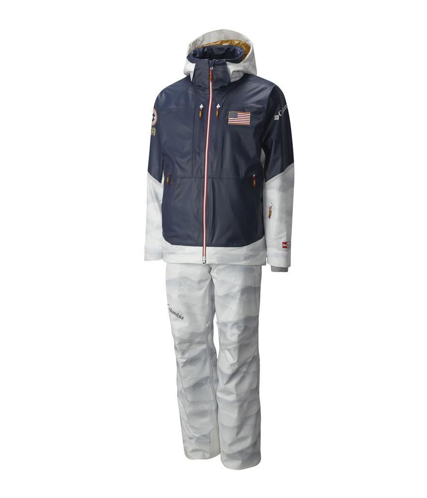 <p>Designed by Columbia, the freestyle ski uniforms embrace performance, innovation, and patriotism in its design. (Photo: courtesy of Columbia) </p>