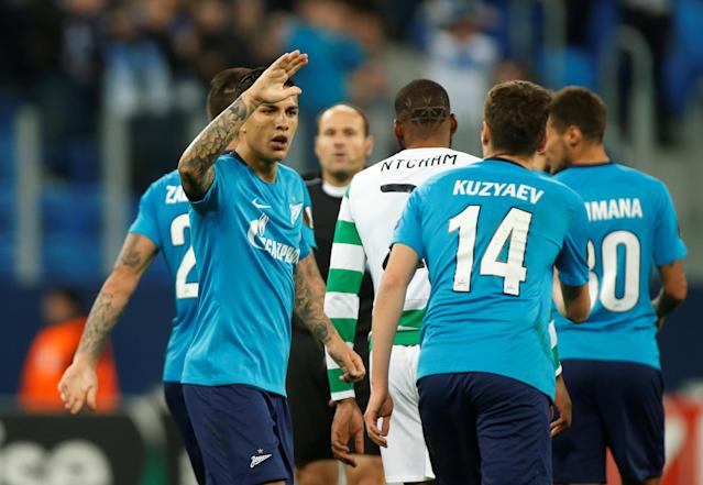 Soccer Football - Europa League Round of 32 Second Leg - Zenit Saint Petersburg vs Celtic - Stadium St. Petersburg, Saint Petersburg, Russia - February 22, 2018 Zenit St. Petersburg's Daler Kuzyayev celebrates with Leandro Paredes after scoring their second goal REUTERS/Maxim Shemetov