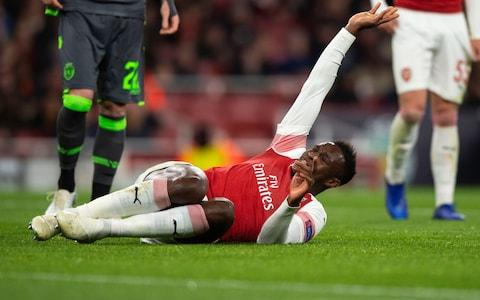 Danny Welbeck of Arsenal reacts to an injury during the UEFA Europa League Group E match between Arsenal and Sporting - Credit: GETTY IMAGES