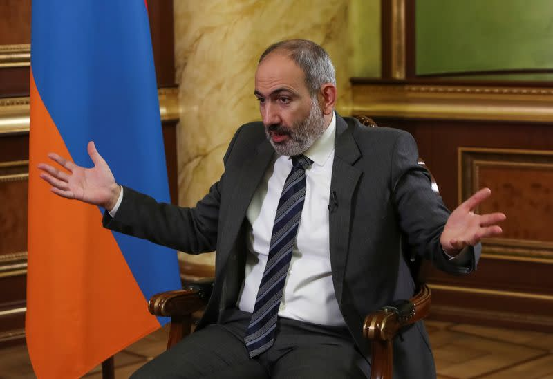 Armenian Prime Minister Nikol Pashinyan is pictured during an interview with Reuters in Yerevan