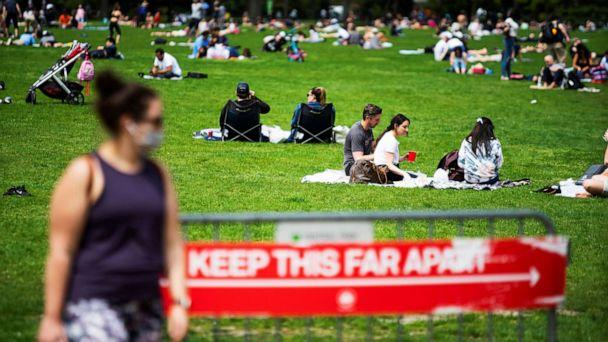PHOTO:People rest and enjoy the day at Central Park while maintaining social distancing during the outbreak coronavirus in New York, May 2, 2020. (Eduardo Munoz/Reuters)