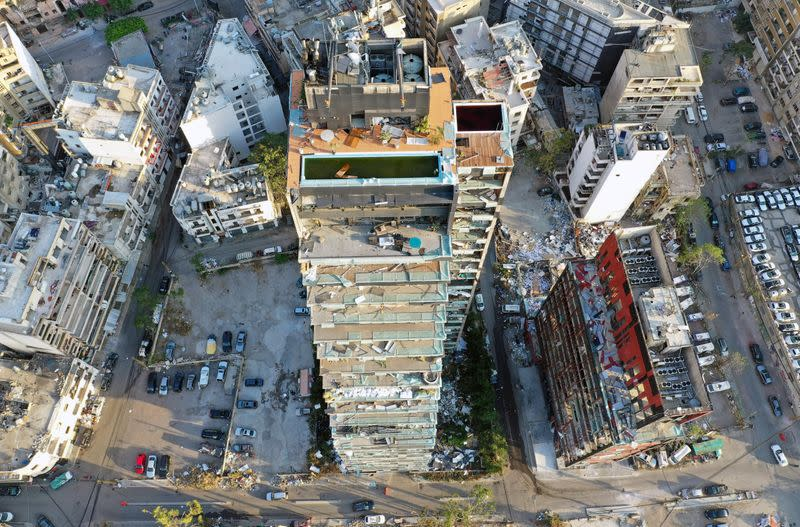 A view shows damaged buildings in the aftermath of a massive explosion in Beirut's port area