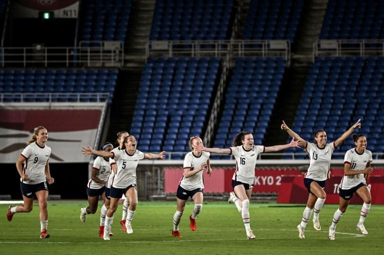 United States players celebrate after beating the Dutch on penalties