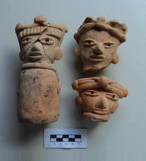 These pre-Columbian artifacts were found in Jaltipan, Mexico.