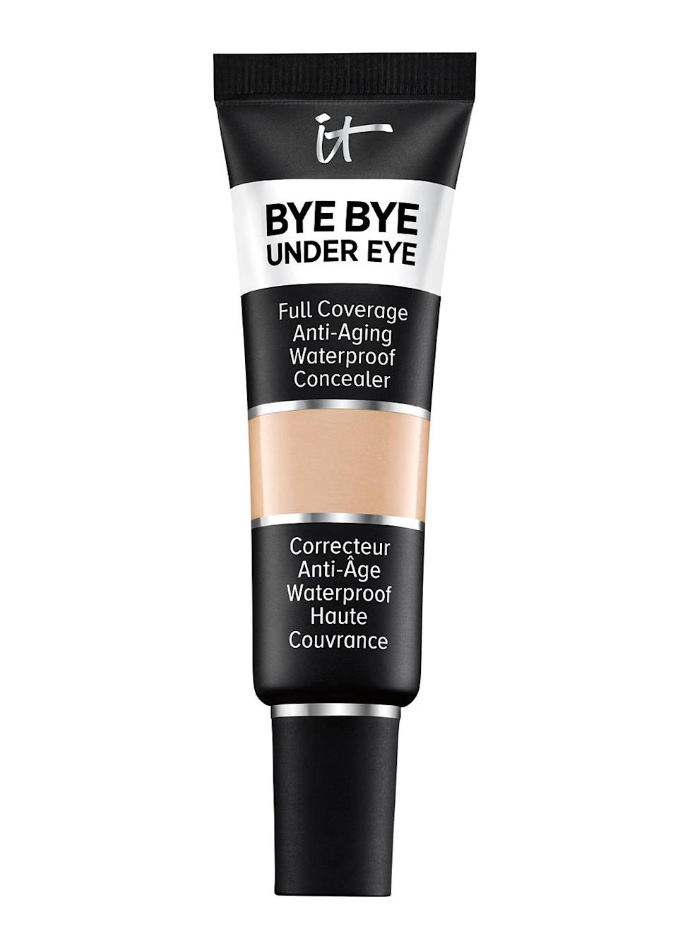 """<p>""""It does wonders for brightening the under eye area. It's a good product for layering — I can go light or heavy depending on what kind of coverage I'm hoping to achieve. Since the skin around the eyes is so thin and fragile, I use gentle patting motions to press and blend it in.""""</p> <p><strong>Buy It!</strong> IT Cosmetics Bye Bye Under Eye Concealer, $28; <a href=""""https://www.itcosmetics.com/makeup/face-makeup/under-eye-concealer/bye-bye-under-eye-anti-aging-concealer/ITC_0005.html"""" rel=""""sponsored noopener"""" target=""""_blank"""" data-ylk=""""slk:itcosmetics.com"""" class=""""link rapid-noclick-resp"""">itcosmetics.com</a></p>"""