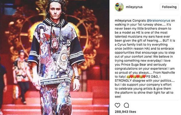 A feud has begun between Miley Cyrus and Stefano Gabbana after the singer posted about her brother Braison's collaboration with the brand. Source: Instagram