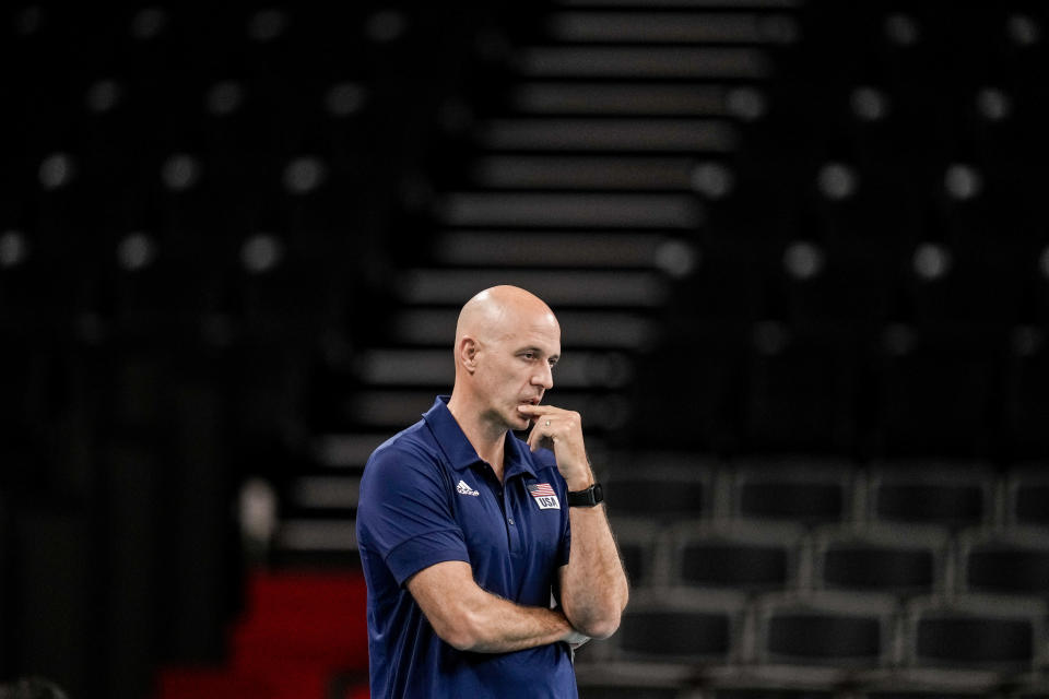 United States' head coach John Speraw gerstures during a men's volleyball preliminary round pool B match between Brazil and United States at the 2020 Summer Olympics, Friday, July 30, 2021, in Tokyo, Japan. (AP Photo/Manu Fernandez)