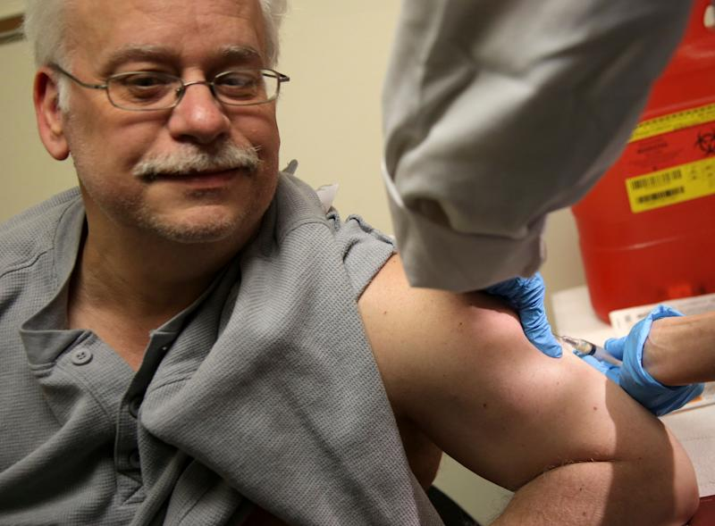 Steve Sierzega receives a measles, mumps and rubella vaccine at the Rockland County Health Department in Pomona, New York, on March 27, 2019.