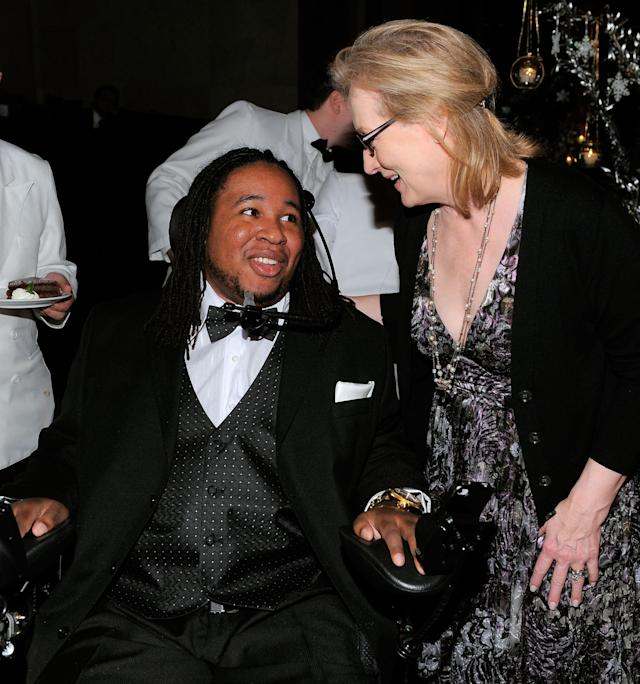NEW YORK, NY - NOVEMBER 30: Football player Eric LeGrand and actress Meryl Streep attend Christopher & Dana Reeve Foundation's A Magical Evening Gala at Cipriani Wall Street on November 30, 2011 in New York City. (Photo by Jemal Countess/Getty Images for Reeve Foundation)