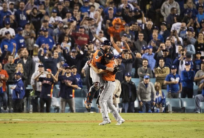 """The Houston Astros celebrate after beating the Dodgers to win the World Series at Dodger Stadium on Nov. 1, 2017. <span class=""""copyright"""">(Gina Ferazzi / Los Angeles Times)</span>"""