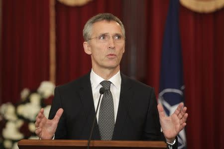 NATO Secretary General Jens Stoltenberg gestures as he speaks during a news conference in Riga November 20, 2014. REUTERS/Ints Kalnins