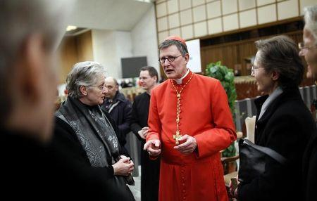New Cardinal Rainer Maria Woelki of Germany receives guests in the Paul VI hall at the Vatican