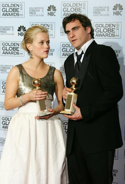 "Reese Witherspoon (L) and Joaquin Phoenix co-starred in Johnny Cash biopic ""Walk the Line"" -- both won Golden Globes for their portrayals of the country legend and his wife June"