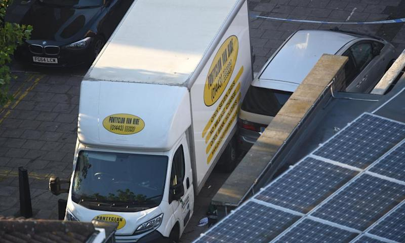 A van believed to be involved in the incident near Finsbury Park mosque.