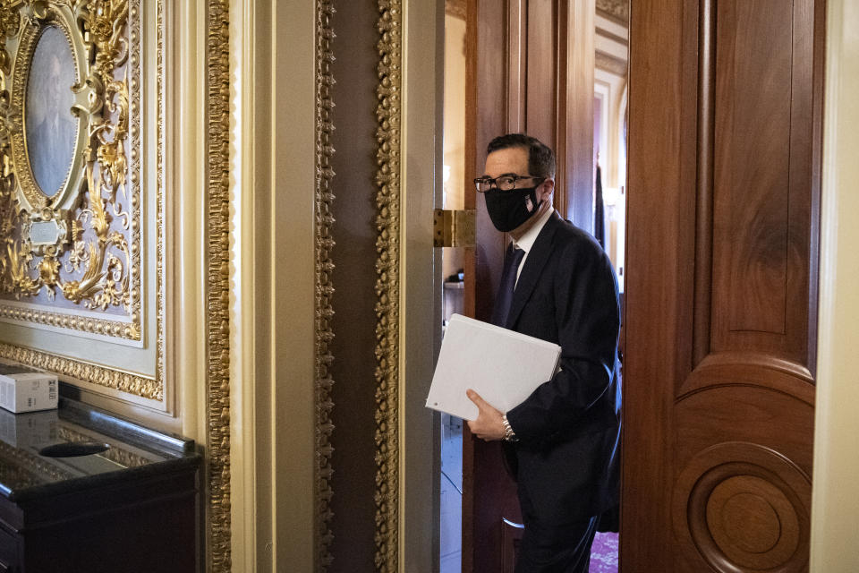 UNITED STATES - JULY 21: Treasury Secretary Steven Mnuchin leaves a meeting on COVID-19 aid in the Capitol in Washington on Tuesday, July 21, 2020. (Photo by Caroline Brehman/CQ-Roll Call, Inc via Getty Images)