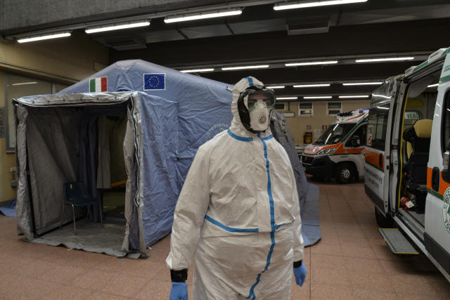 Staff assigned for Coronavirus tests at the Molinette hospital, in Italy (Picture: PA)