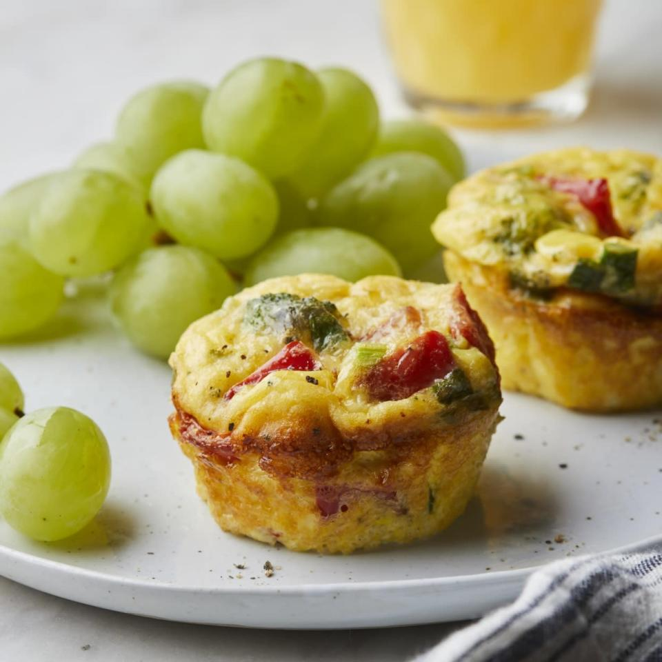 """<p>These simple veggie muffin-tin """"omelets"""" are easy to make in the morning--or mix up the batter the night before. They're perfect for company or to take for an easy breakfast on the go.</p>"""