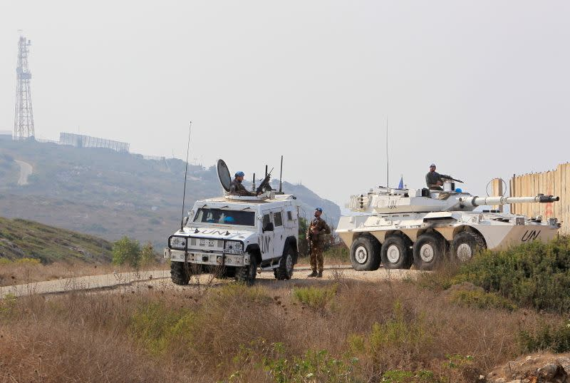 UN peacekeepers (UNIFIL) patrol in Naqoura, near the Lebanese-Israeli border
