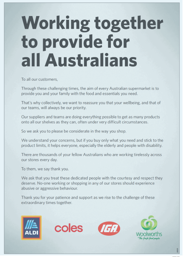 The supermarkets have come together in a full page ad in Wednesday's newspapers to call for people to respect workers. Source: Twitter/Jade Macmillian