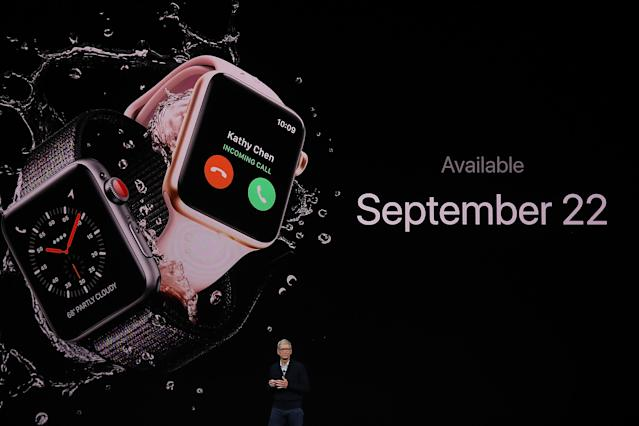 <p>Preorders begin Sept. 15, and the Apple Watch Series 3 goes on sale Sept. 22. (Photo by Justin Sullivan/Getty Images) </p>