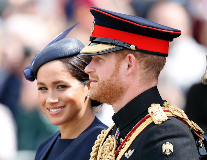Meghan, Duchess of Sussex and Prince Harry, Duke of Sussex during Trooping The Colour