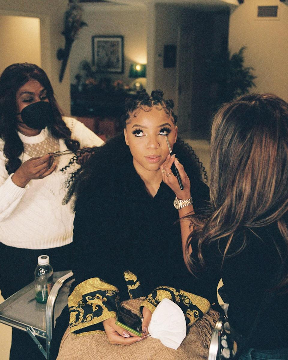 """""""While I was getting my makeup done, I was so anxious about the awards. However, facetiming with Halle and taking a nap during the glam process definitely made me feel more at ease and happy."""""""