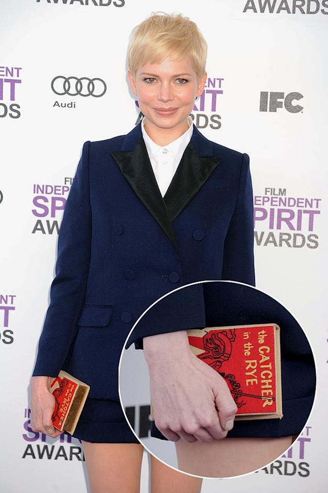 "At the 2012 Independent Spirit Awards, Michelle Williams toted around an Olympia Le-Tan bag that looked like the J.D. Salinger book ""The Catcher in the Rye."""