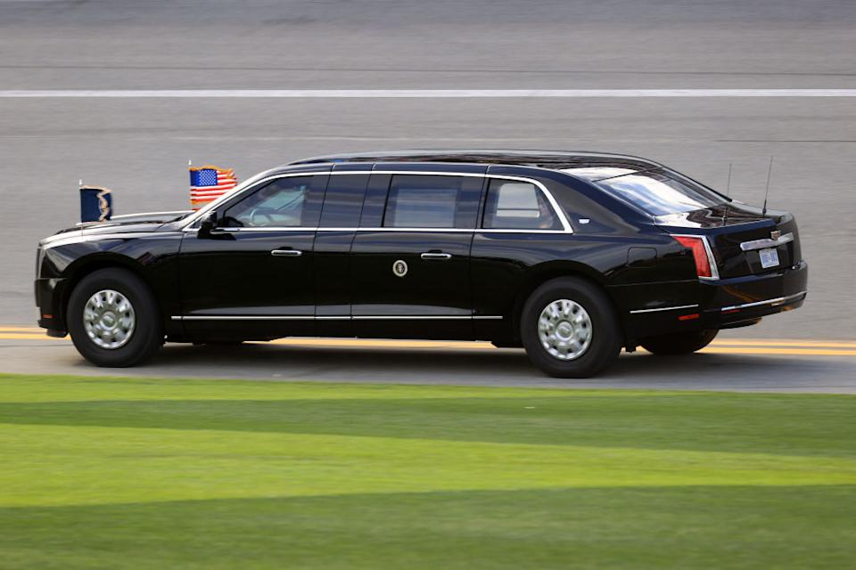 Pictured is The Beast, the US president's limousine.