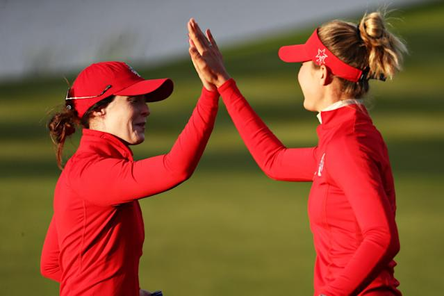 "<h1 class=""title"">korda altomare The Solheim Cup - Day 1</h1> <div class=""caption""> AUCHTERARDER, SCOTLAND - SEPTEMBER 13: Brittany Altomare (L) and Nelly Korda (R) of Team USA celebrate a putt on the sixteenth green during Day 1 of The Solheim Cup at Gleneagles on September 13, 2019 in Auchterarder, Scotland. (Photo by Jamie Squire/Getty Images) </div> <cite class=""credit"">Jamie Squire</cite>"